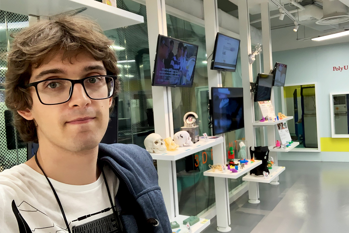 SPbPU postgraduate student Ivan Kononov studied specifics of 3D printing at PolyU laboratories