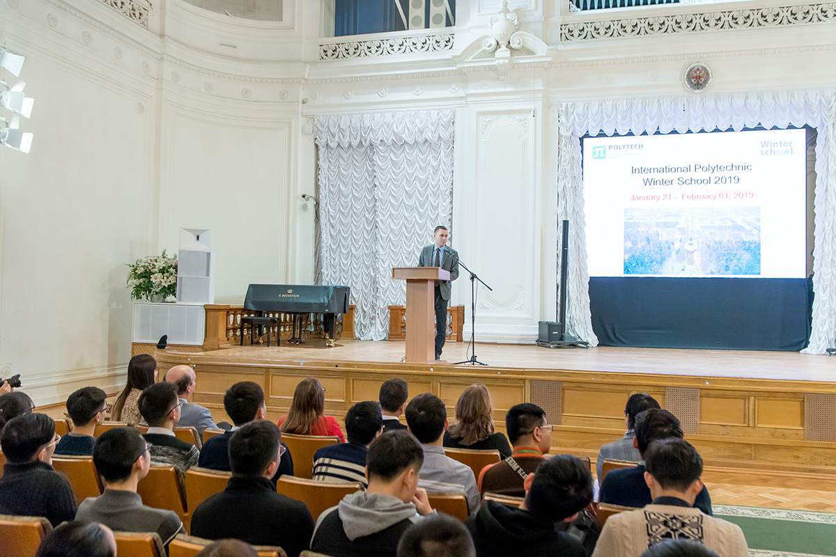 Vice Rector for the Youth Affairs M.A. PASHOLIKOV greeted the students of the International Polytechnic Winter School
