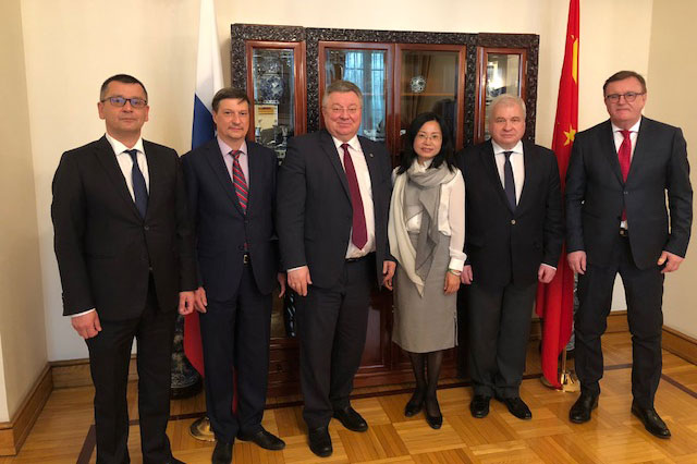 SPbPU delegation met with the Ambassador of the Russian Federation in China Andrei Denisov