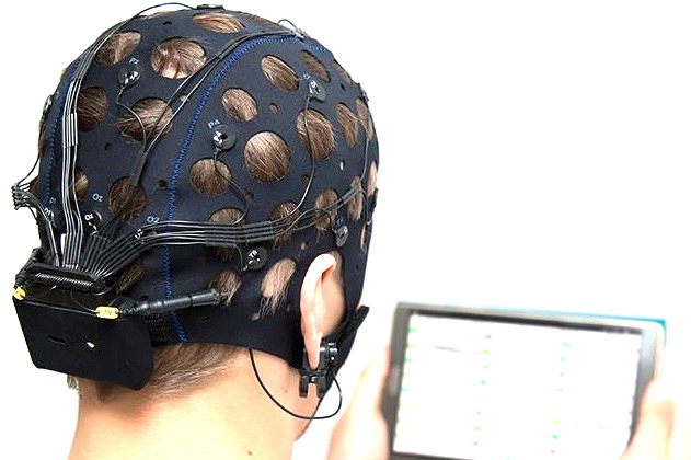 The developed device is attached on the nape
