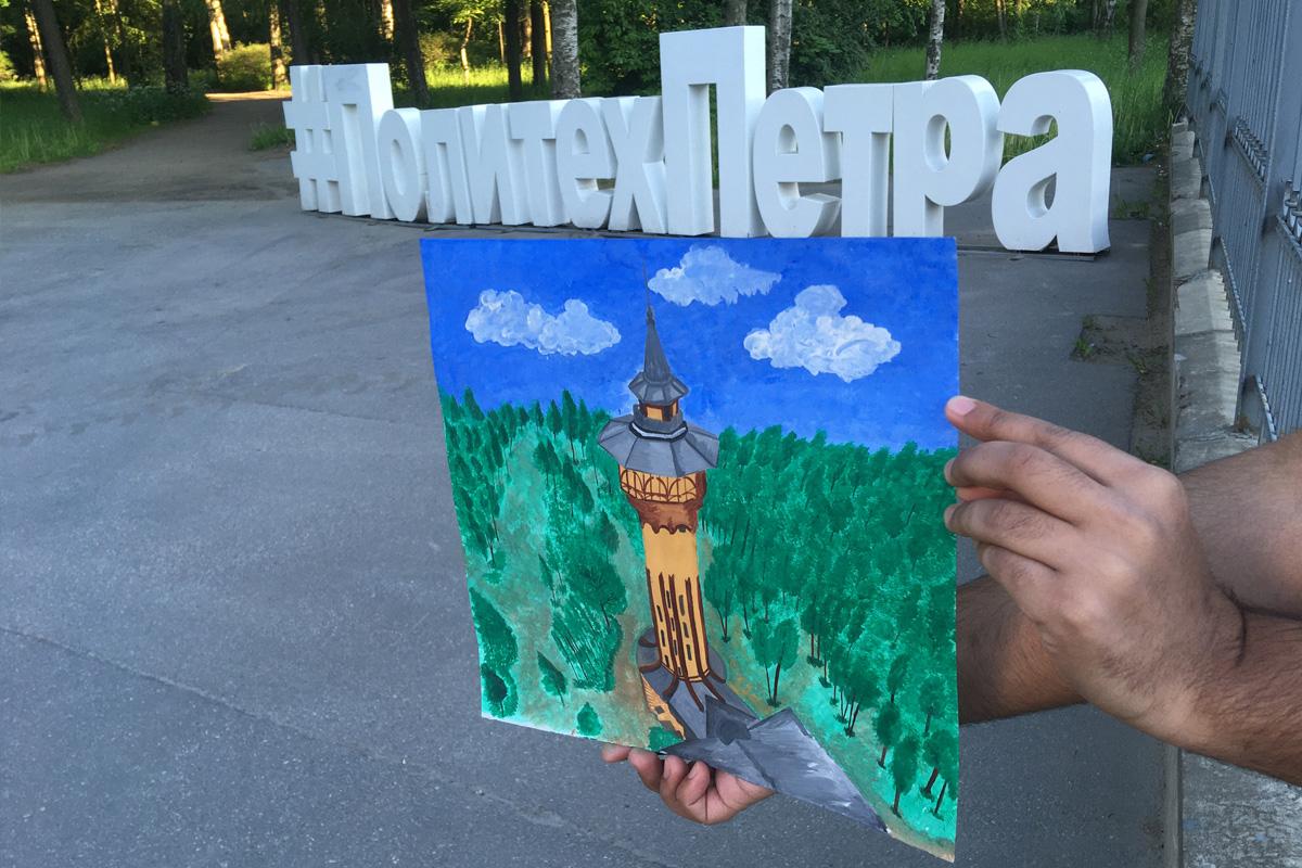 SPbPU student Tanuj NAMBUDRI painted the famous Water Tower