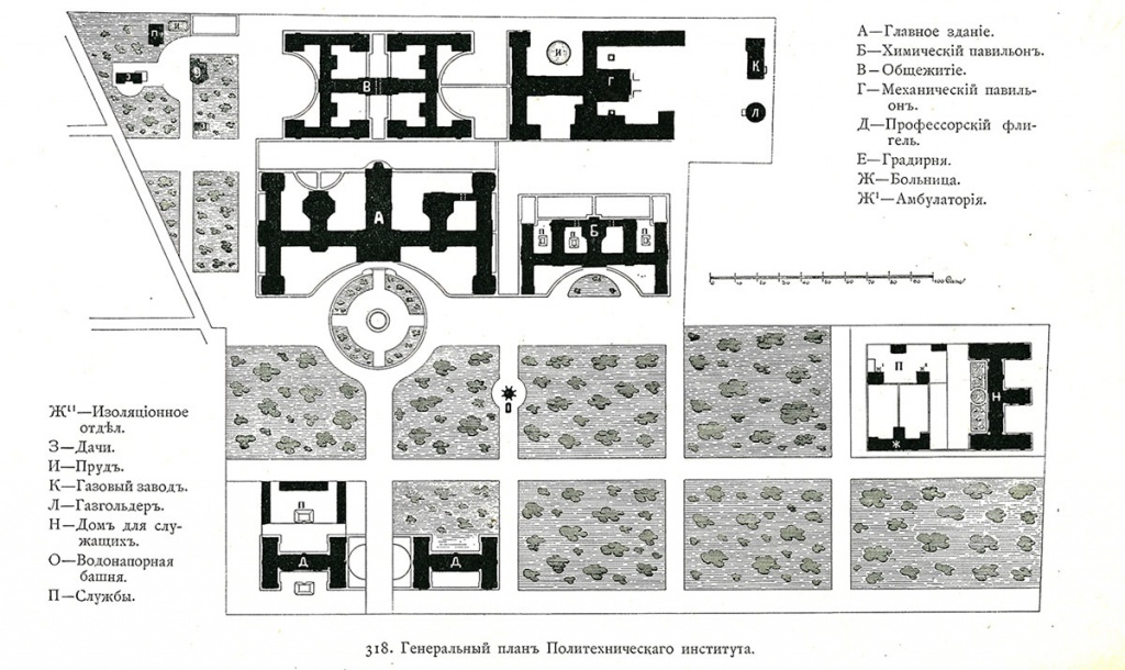 General layout plan of the Polytechnic Institute. 1900s